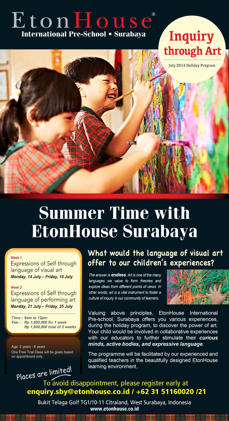 Don't Miss the EtonHouse Surabaya Summer Programme